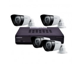 Samsung 4-Channel 500GB DVR Home Security System w/4 Night-Vision & Weatherproof 600 Line Resolution Cameras